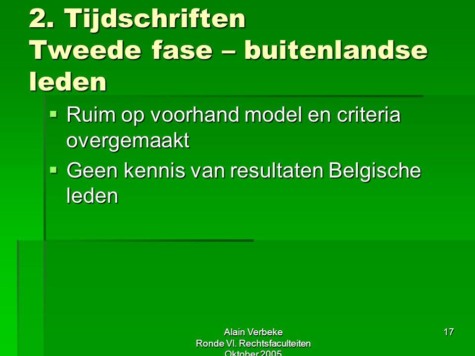 Alain Verbeke Ronde Vl. Rechtsfaculteiten Oktober 2005 17 2. Tijdschriften Tweede fase – buitenlandse leden  Ruim op voorhand model en criteria overg