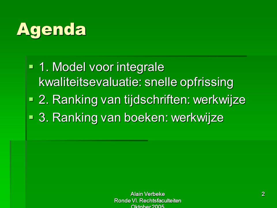 Alain Verbeke Ronde Vl. Rechtsfaculteiten Oktober 2005 2 Agenda  1. Model voor integrale kwaliteitsevaluatie: snelle opfrissing  2. Ranking van tijd