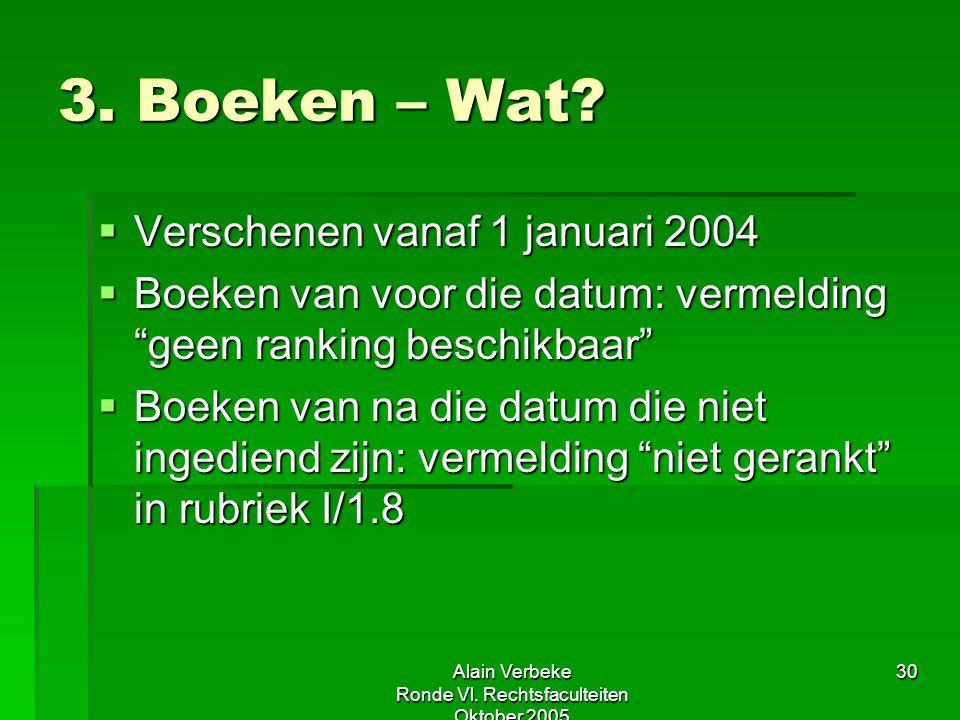"""Alain Verbeke Ronde Vl. Rechtsfaculteiten Oktober 2005 30 3. Boeken – Wat?  Verschenen vanaf 1 januari 2004  Boeken van voor die datum: vermelding """""""