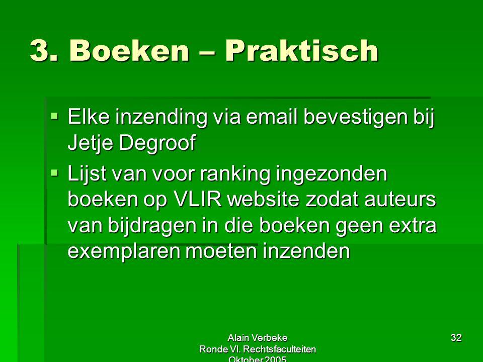 Alain Verbeke Ronde Vl. Rechtsfaculteiten Oktober 2005 32 3. Boeken – Praktisch  Elke inzending via email bevestigen bij Jetje Degroof  Lijst van vo