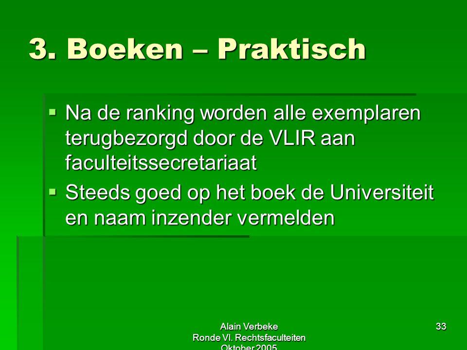 Alain Verbeke Ronde Vl. Rechtsfaculteiten Oktober 2005 33 3. Boeken – Praktisch  Na de ranking worden alle exemplaren terugbezorgd door de VLIR aan f