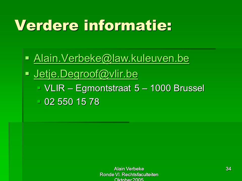 Alain Verbeke Ronde Vl. Rechtsfaculteiten Oktober 2005 34 Verdere informatie:  Alain.Verbeke@law.kuleuven.be Alain.Verbeke@law.kuleuven.be  Jetje.De