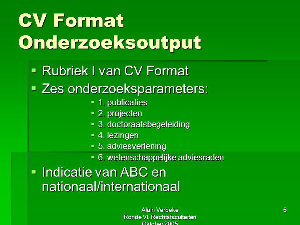 Alain Verbeke Ronde Vl. Rechtsfaculteiten Oktober 2005 6 CV Format Onderzoeksoutput  Rubriek I van CV Format  Zes onderzoeksparameters:  1. publica