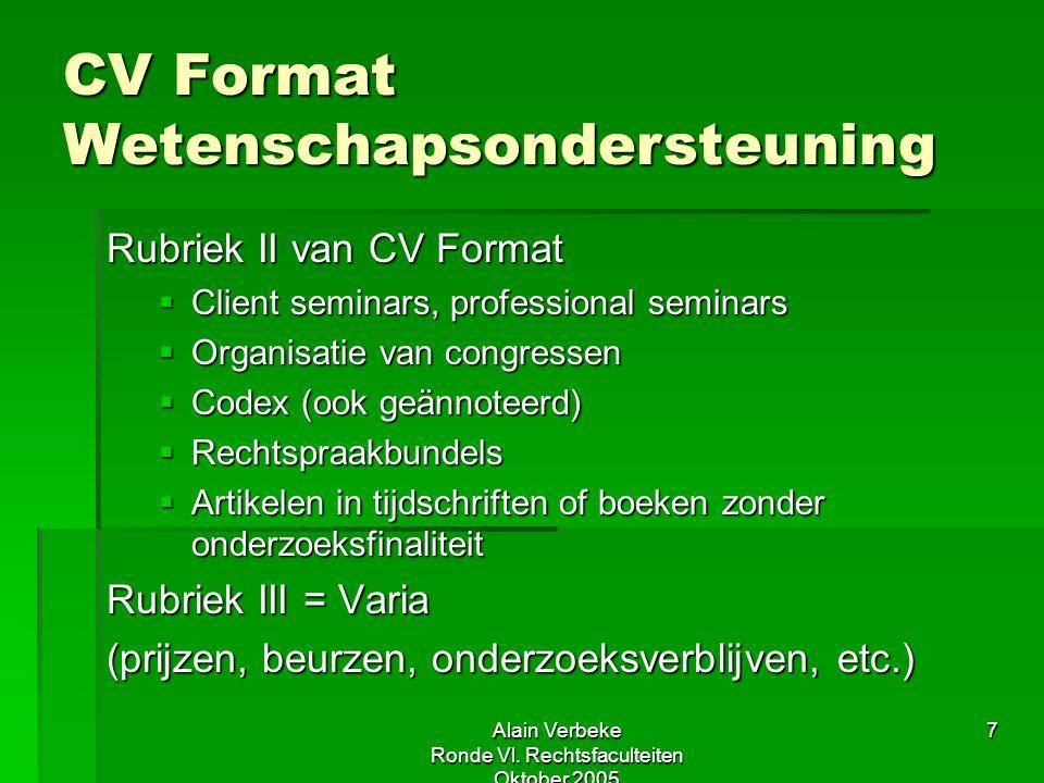 Alain Verbeke Ronde Vl. Rechtsfaculteiten Oktober 2005 7 CV Format Wetenschapsondersteuning Rubriek II van CV Format  Client seminars, professional s