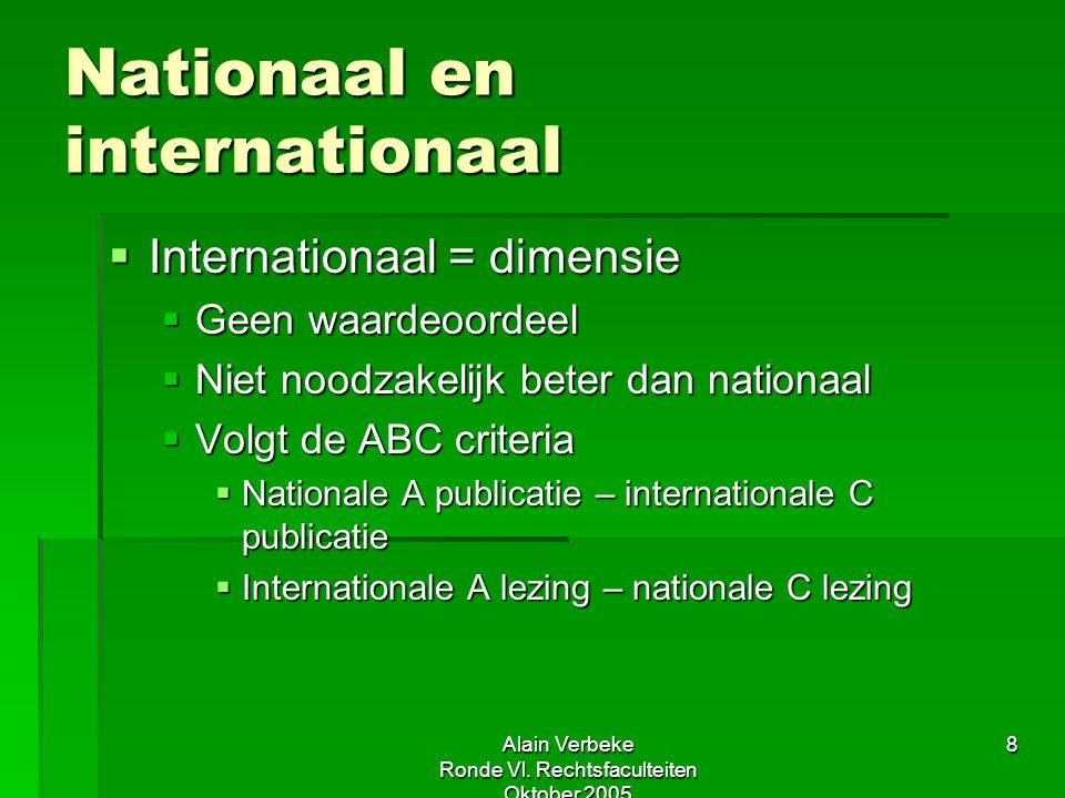 Alain Verbeke Ronde Vl. Rechtsfaculteiten Oktober 2005 8 Nationaal en internationaal  Internationaal = dimensie  Geen waardeoordeel  Niet noodzakel