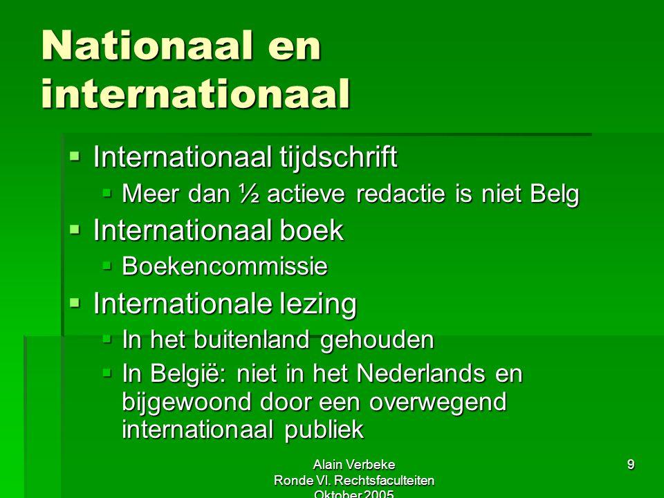 Alain Verbeke Ronde Vl. Rechtsfaculteiten Oktober 2005 9 Nationaal en internationaal  Internationaal tijdschrift  Meer dan ½ actieve redactie is nie