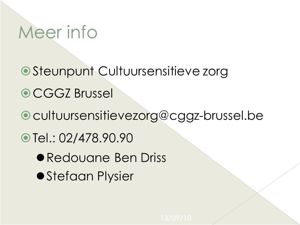 13/09/10 Meer info  Steunpunt Cultuursensitieve zorg  CGGZ Brussel  cultuursensitievezorg@cggz-brussel.be  Tel.: 02/478.90.90  Redouane Ben Driss