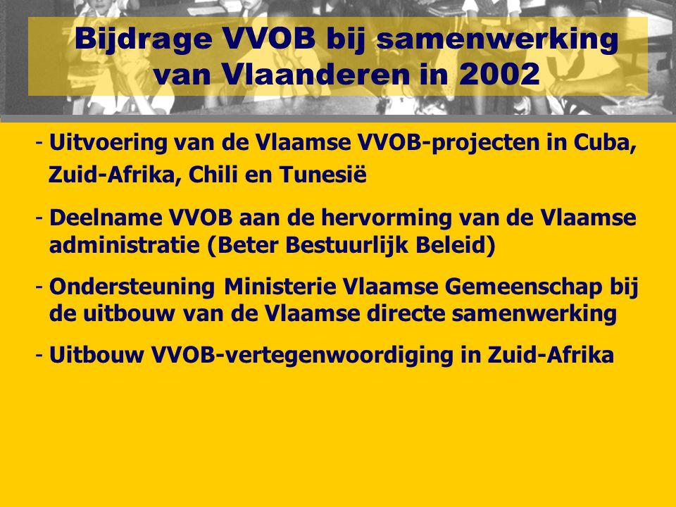 Bijdrage VVOB bij samenwerking van Vlaanderen in 2002 -Uitvoering van de Vlaamse VVOB-projecten in Cuba, Zuid-Afrika, Chili en Tunesië -Deelname VVOB