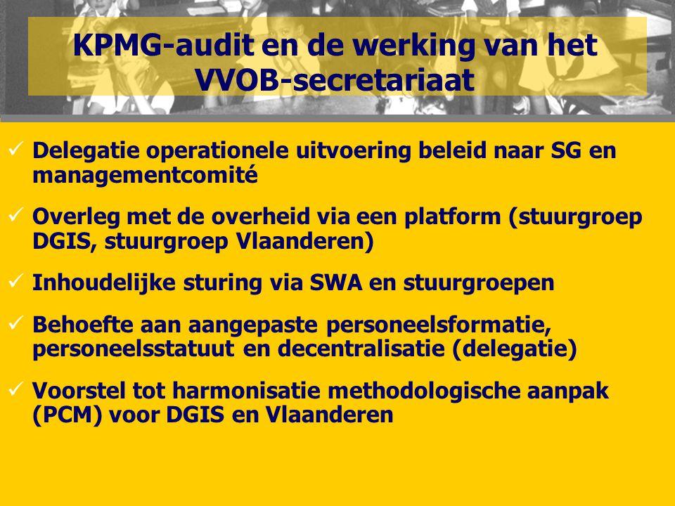 KPMG-audit en de werking van het VVOB-secretariaat  Delegatie operationele uitvoering beleid naar SG en managementcomité  Overleg met de overheid vi