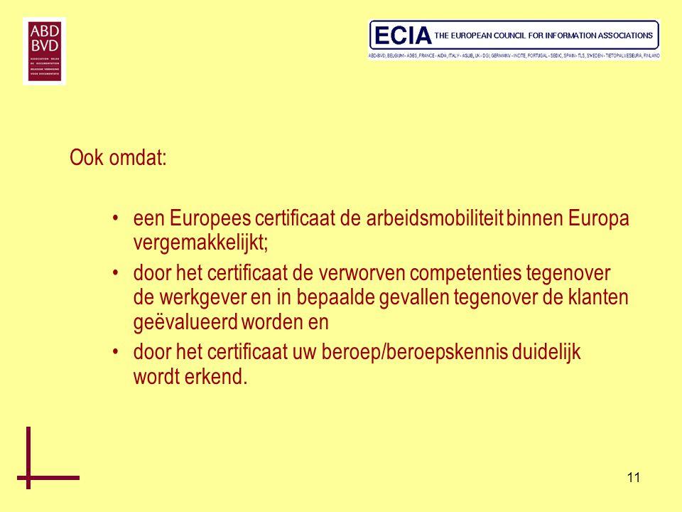 11 Ook omdat: •een Europees certificaat de arbeidsmobiliteit binnen Europa vergemakkelijkt; •door het certificaat de verworven competenties tegenover