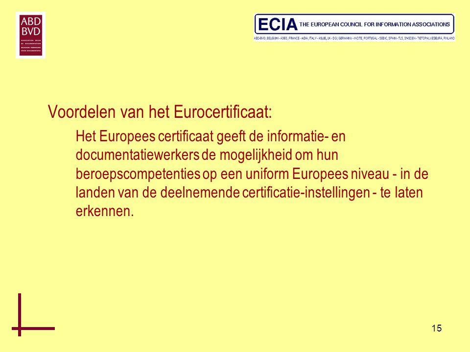 15 Voordelen van het Eurocertificaat: Het Europees certificaat geeft de informatie- en documentatiewerkers de mogelijkheid om hun beroepscompetenties