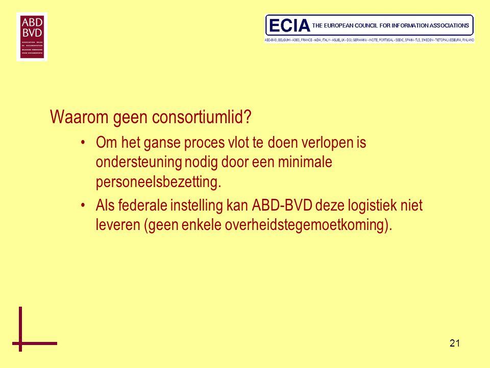21 Waarom geen consortiumlid? •Om het ganse proces vlot te doen verlopen is ondersteuning nodig door een minimale personeelsbezetting. •Als federale i