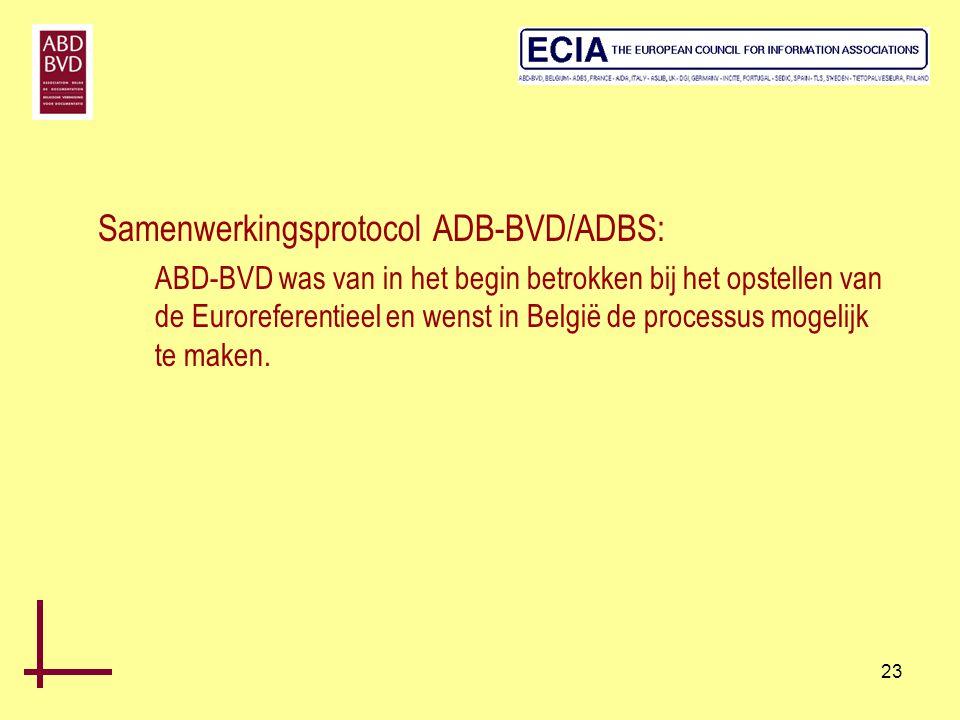 23 Samenwerkingsprotocol ADB-BVD/ADBS: ABD-BVD was van in het begin betrokken bij het opstellen van de Euroreferentieel en wenst in België de processu