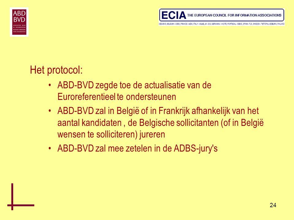 24 Het protocol: •ABD-BVD zegde toe de actualisatie van de Euroreferentieel te ondersteunen •ABD-BVD zal in België of in Frankrijk afhankelijk van het