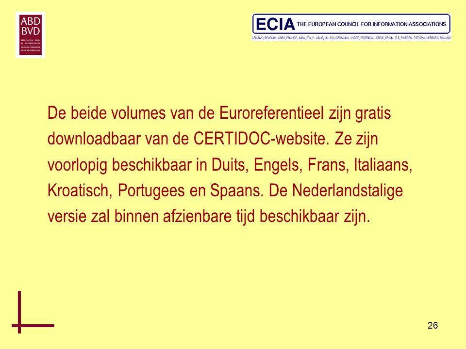 26 De beide volumes van de Euroreferentieel zijn gratis downloadbaar van de CERTIDOC-website. Ze zijn voorlopig beschikbaar in Duits, Engels, Frans, I