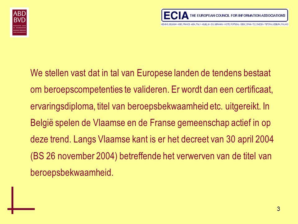 14 Het Eurocertificaat: •Het Eurocertificaat steunt op de Euroreferentieel der beroepscompetenties (uitgave 2004) en op de gepubliceerde regels, gemeenschappelijk voor alle certificatieorganismen, lid van het Europese consortium CERTIDOC •Het Eurocertificaat is erkend door alle beroepsorganisaties of partners van het consortium.