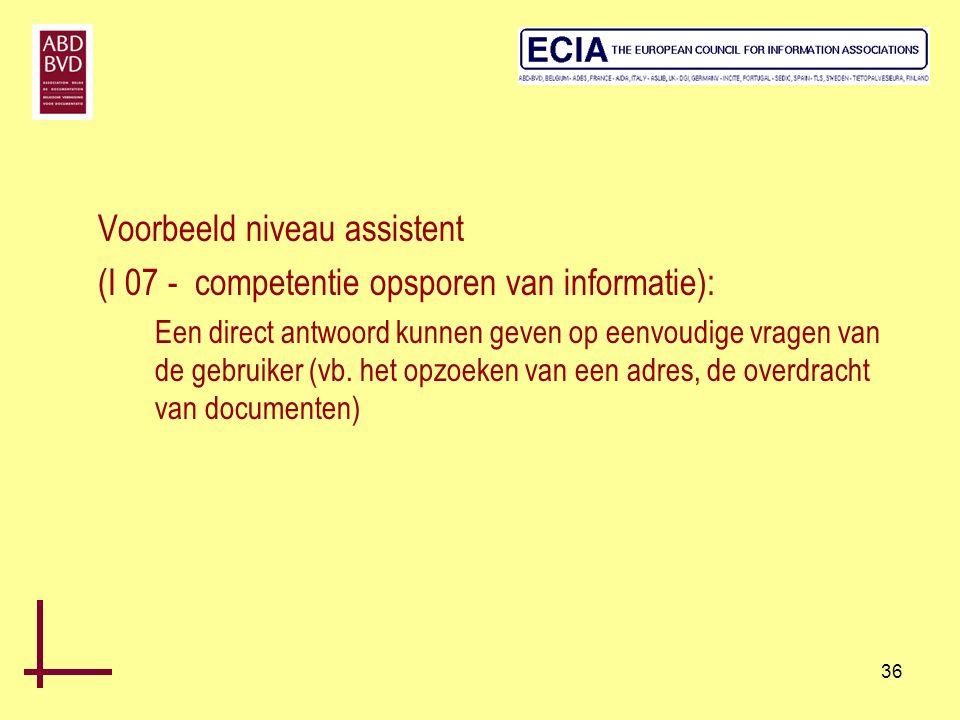 36 Voorbeeld niveau assistent (I 07 - competentie opsporen van informatie): Een direct antwoord kunnen geven op eenvoudige vragen van de gebruiker (vb