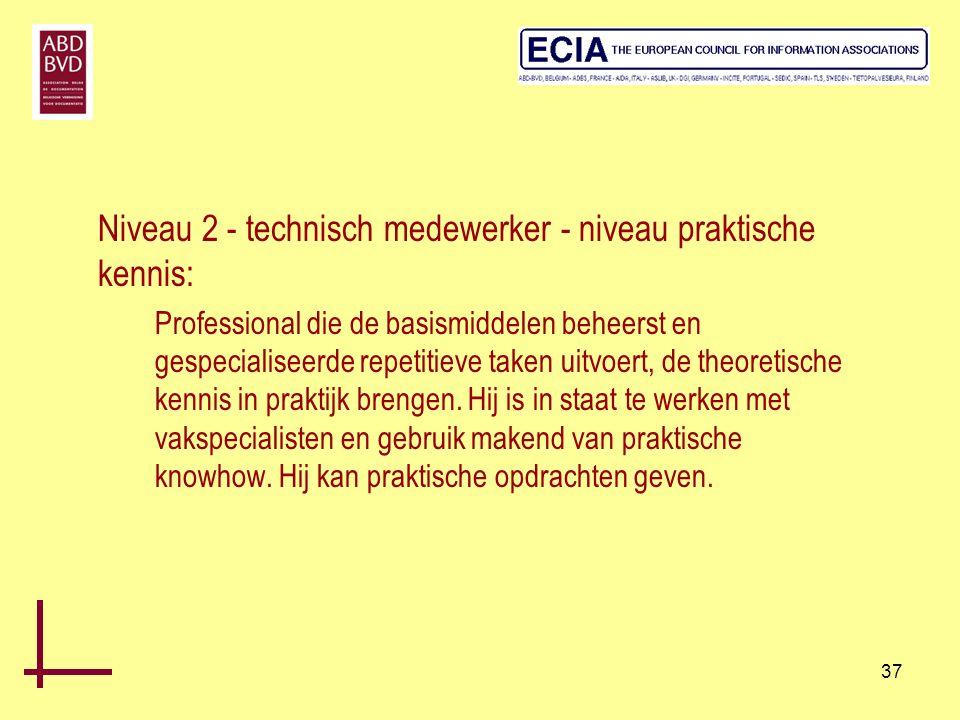 37 Niveau 2 - technisch medewerker - niveau praktische kennis: Professional die de basismiddelen beheerst en gespecialiseerde repetitieve taken uitvoe