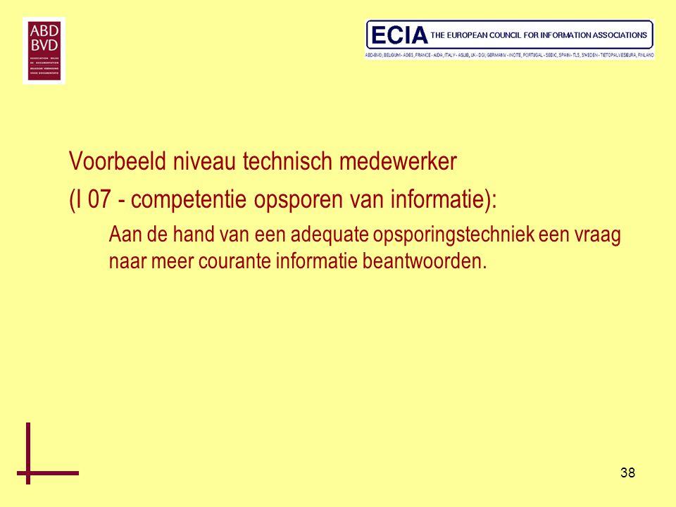 38 Voorbeeld niveau technisch medewerker (I 07 - competentie opsporen van informatie): Aan de hand van een adequate opsporingstechniek een vraag naar