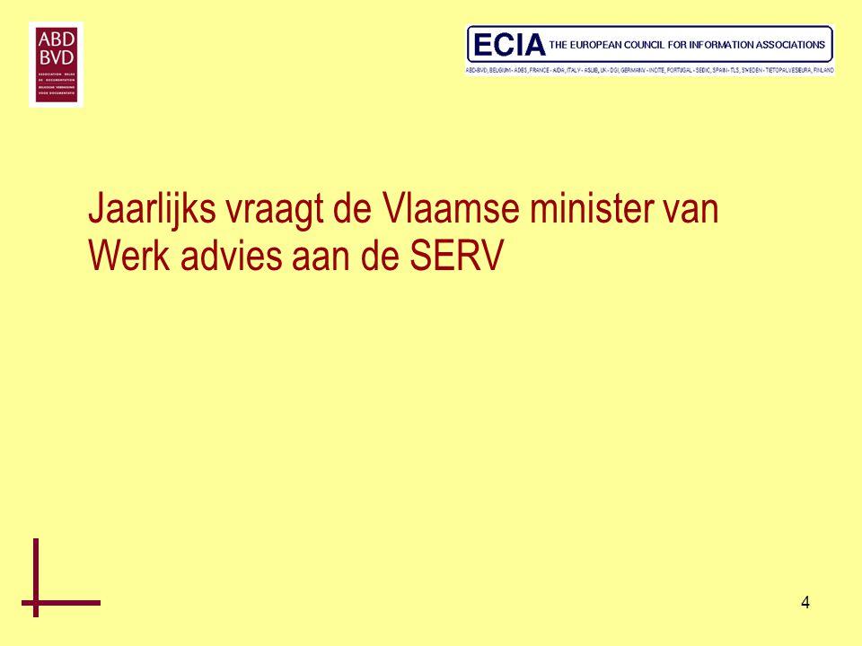 4 Jaarlijks vraagt de Vlaamse minister van Werk advies aan de SERV
