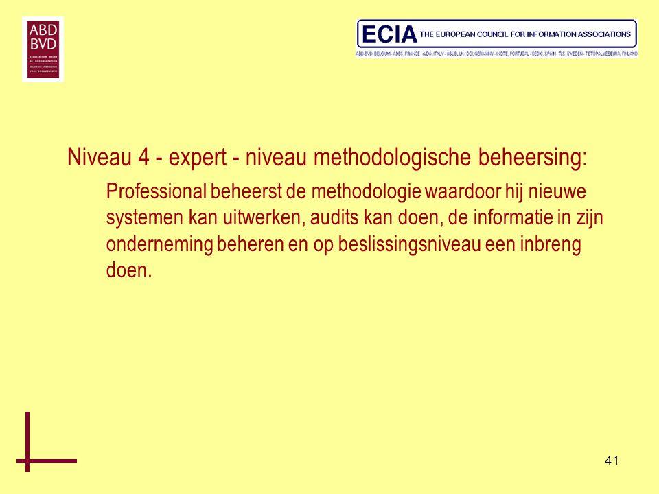 41 Niveau 4 - expert - niveau methodologische beheersing: Professional beheerst de methodologie waardoor hij nieuwe systemen kan uitwerken, audits kan