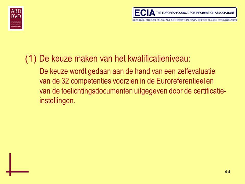 44 (1) De keuze maken van het kwalificatieniveau: De keuze wordt gedaan aan de hand van een zelfevaluatie van de 32 competenties voorzien in de Eurore