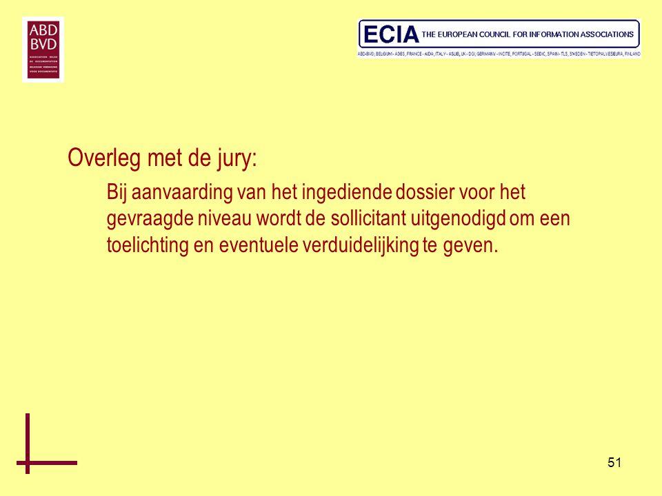 51 Overleg met de jury: Bij aanvaarding van het ingediende dossier voor het gevraagde niveau wordt de sollicitant uitgenodigd om een toelichting en ev