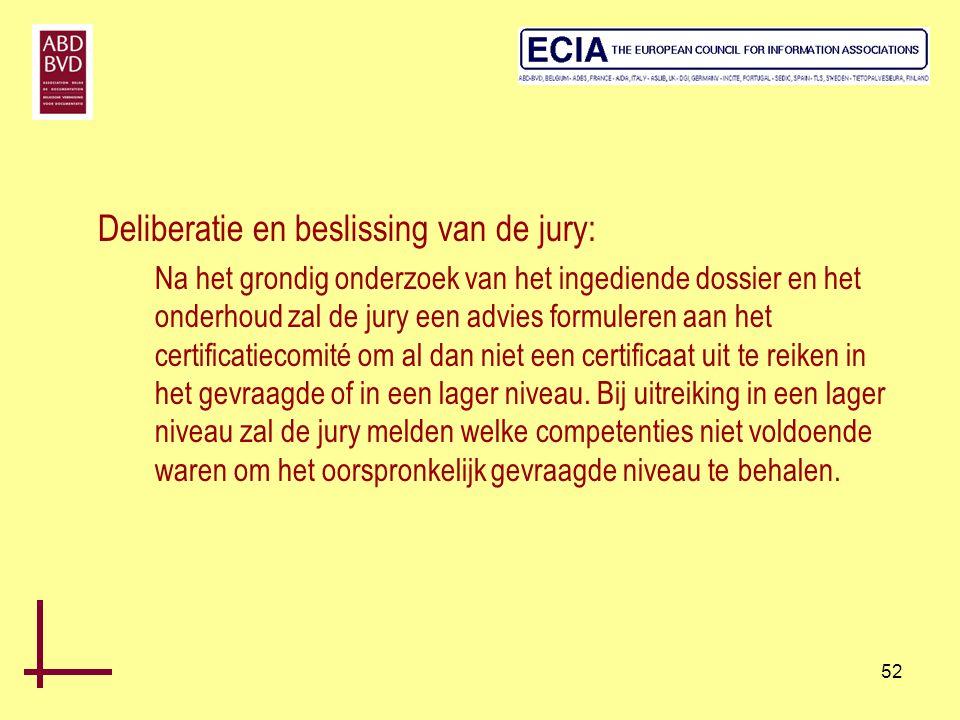 52 Deliberatie en beslissing van de jury: Na het grondig onderzoek van het ingediende dossier en het onderhoud zal de jury een advies formuleren aan h