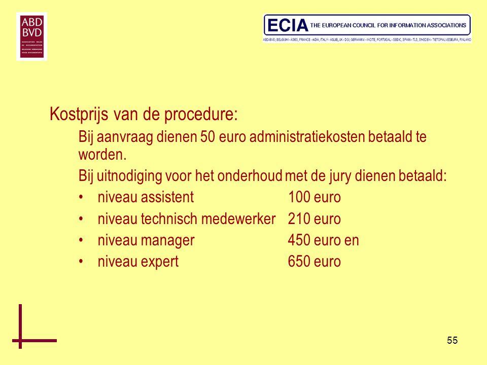 55 Kostprijs van de procedure: Bij aanvraag dienen 50 euro administratiekosten betaald te worden. Bij uitnodiging voor het onderhoud met de jury diene