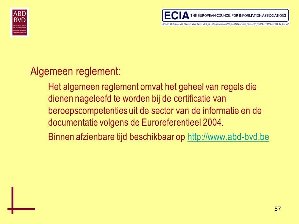 57 Algemeen reglement: Het algemeen reglement omvat het geheel van regels die dienen nageleefd te worden bij de certificatie van beroepscompetenties u