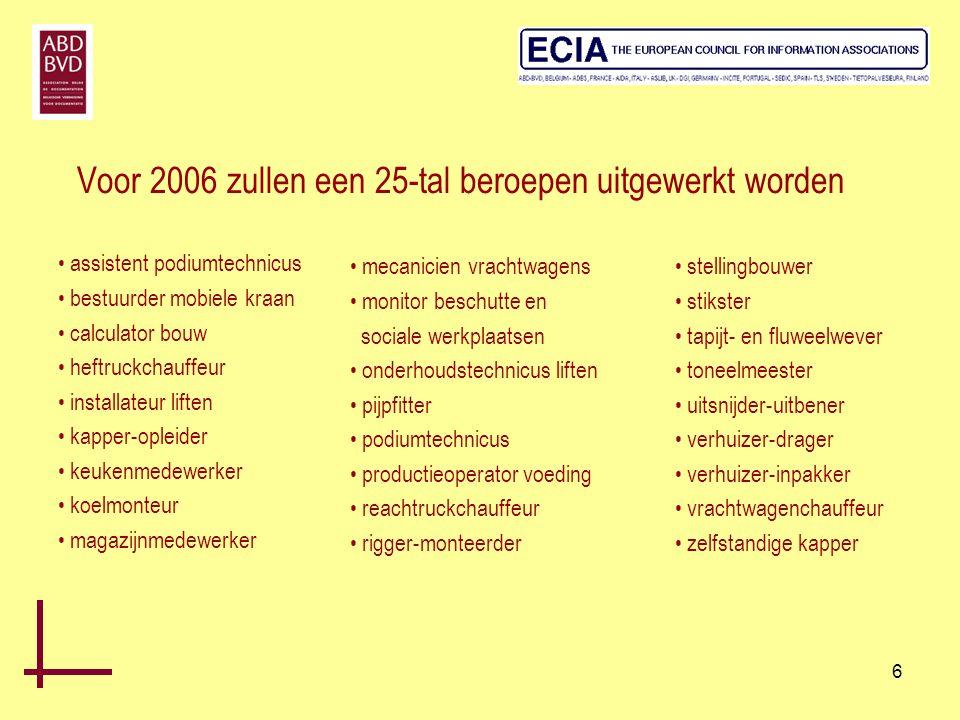 6 Voor 2006 zullen een 25-tal beroepen uitgewerkt worden • assistent podiumtechnicus • bestuurder mobiele kraan • calculator bouw • heftruckchauffeur
