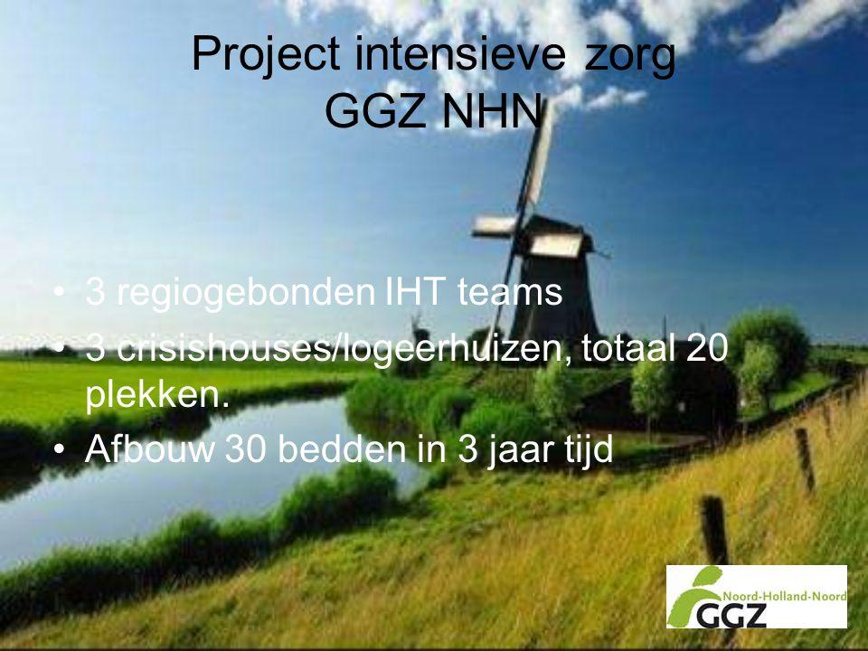 Project intensieve zorg GGZ NHN •3 regiogebonden IHT teams •3 crisishouses/logeerhuizen, totaal 20 plekken. •Afbouw 30 bedden in 3 jaar tijd