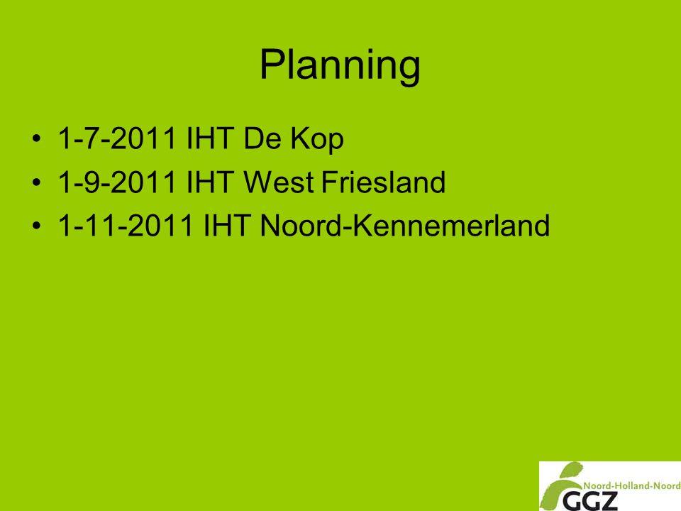 Planning •1-7-2011 IHT De Kop •1-9-2011 IHT West Friesland •1-11-2011 IHT Noord-Kennemerland