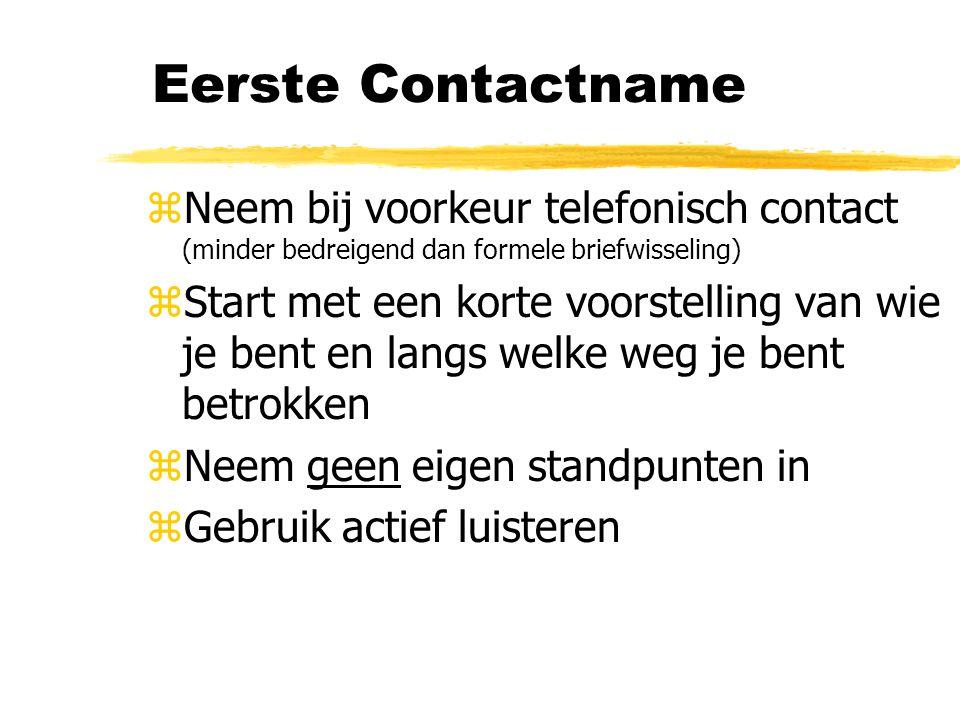 Eerste Contactname zNeem bij voorkeur telefonisch contact (minder bedreigend dan formele briefwisseling) zStart met een korte voorstelling van wie je