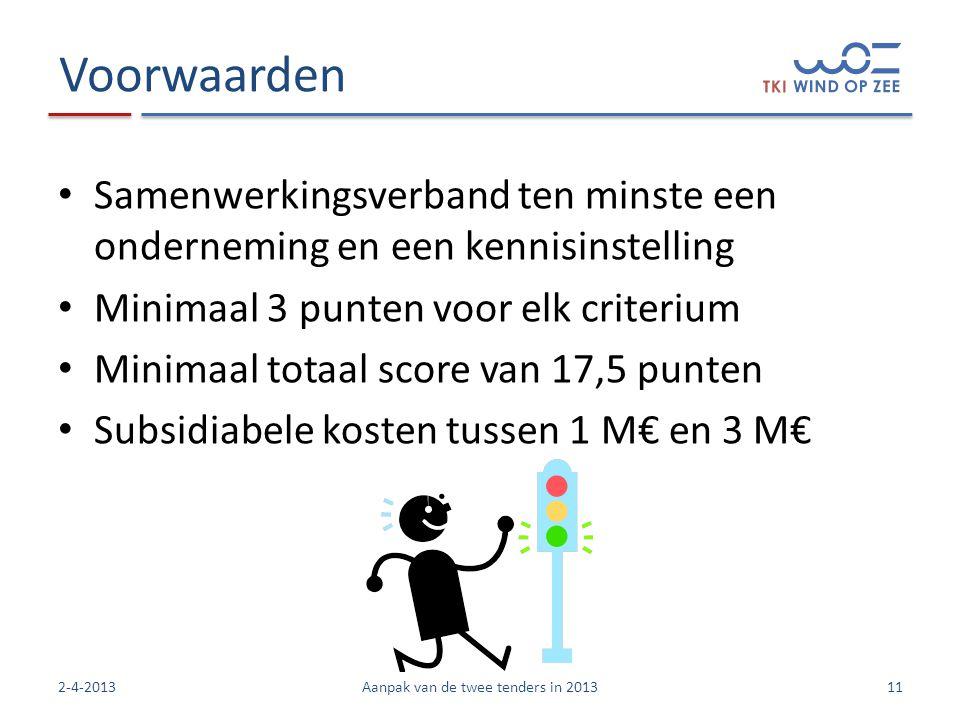 Voorwaarden • Samenwerkingsverband ten minste een onderneming en een kennisinstelling • Minimaal 3 punten voor elk criterium • Minimaal totaal score van 17,5 punten • Subsidiabele kosten tussen 1 M€ en 3 M€ 112-4-2013Aanpak van de twee tenders in 2013