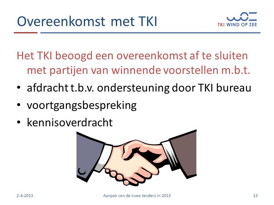 Overeenkomst met TKI Het TKI beoogd een overeenkomst af te sluiten met partijen van winnende voorstellen m.b.t.