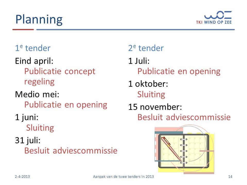 Planning 1 e tender Eind april: Publicatie concept regeling Medio mei: Publicatie en opening 1 juni: Sluiting 31 juli: Besluit adviescommissie 2 e ten
