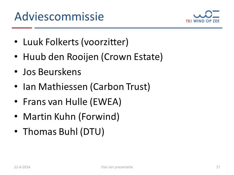 Adviescommissie • Luuk Folkerts (voorzitter) • Huub den Rooijen (Crown Estate) • Jos Beurskens • Ian Mathiessen (Carbon Trust) • Frans van Hulle (EWEA) • Martin Kuhn (Forwind) • Thomas Buhl (DTU) 22-6-2014titel van presentatie17