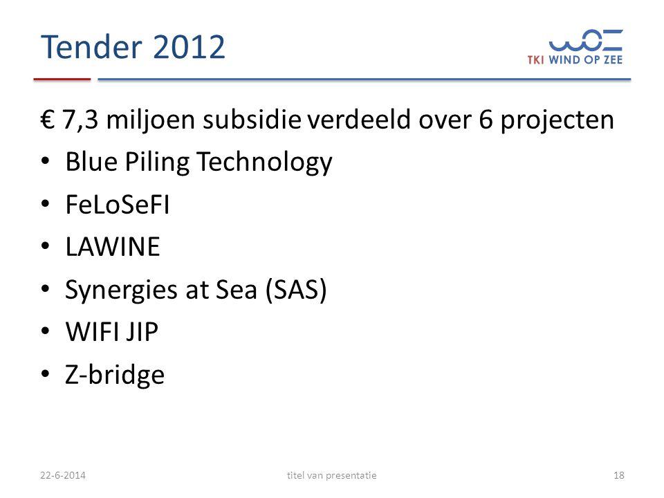 Tender 2012 € 7,3 miljoen subsidie verdeeld over 6 projecten • Blue Piling Technology • FeLoSeFI • LAWINE • Synergies at Sea (SAS) • WIFI JIP • Z-bridge 22-6-2014titel van presentatie18