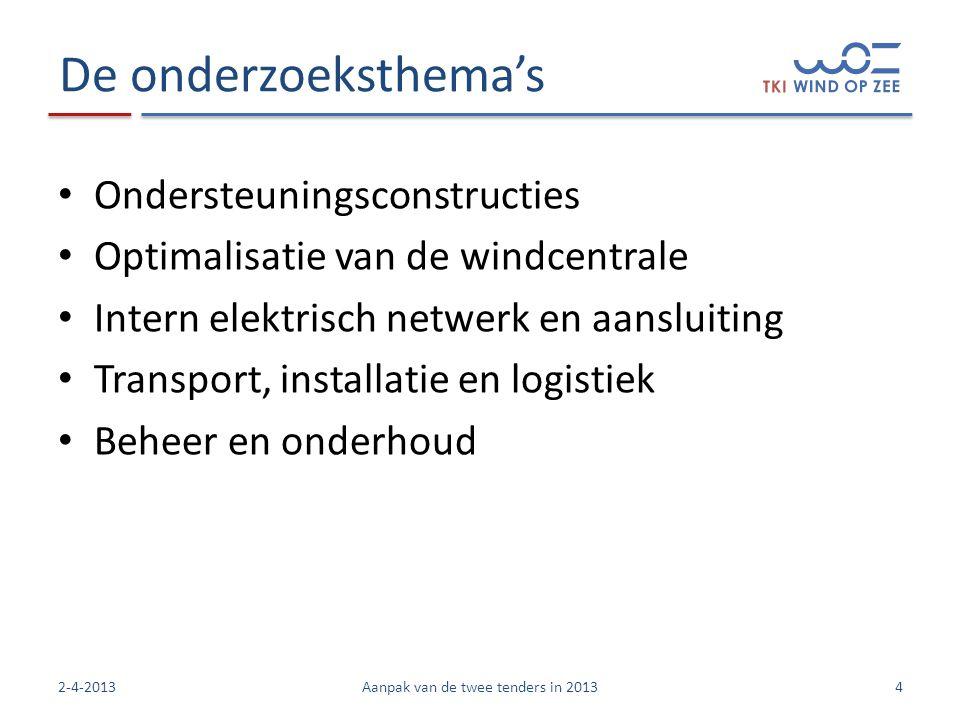 De onderzoeksthema's • Ondersteuningsconstructies • Optimalisatie van de windcentrale • Intern elektrisch netwerk en aansluiting • Transport, installatie en logistiek • Beheer en onderhoud 42-4-2013Aanpak van de twee tenders in 2013