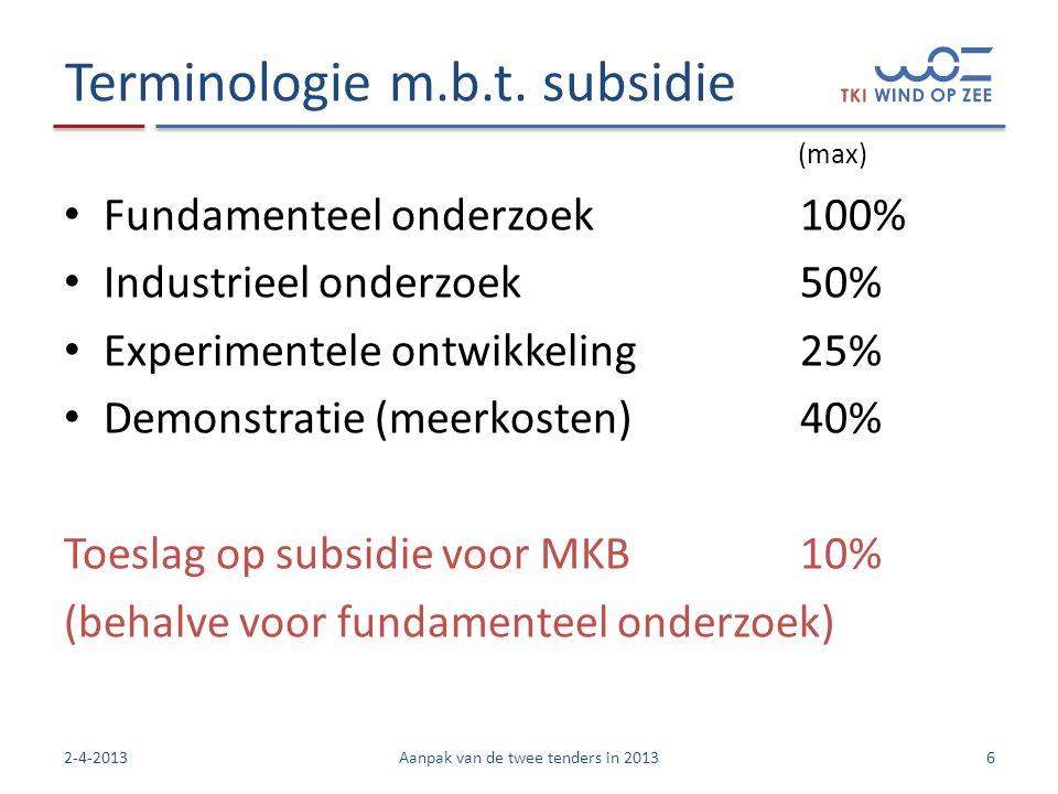 Terminologie m.b.t. subsidie • Fundamenteel onderzoek100% • Industrieel onderzoek50% • Experimentele ontwikkeling25% • Demonstratie (meerkosten)40% To