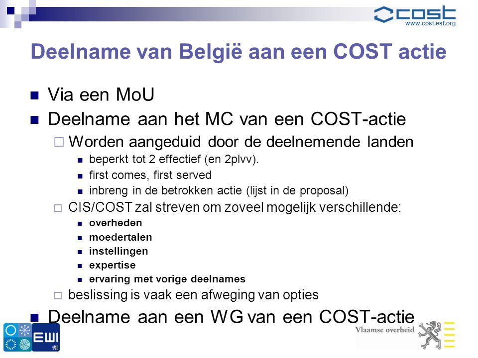 www.cost.esf.org Deelname van België aan een COST actie  Via een MoU  Deelname aan het MC van een COST-actie  Worden aangeduid door de deelnemende