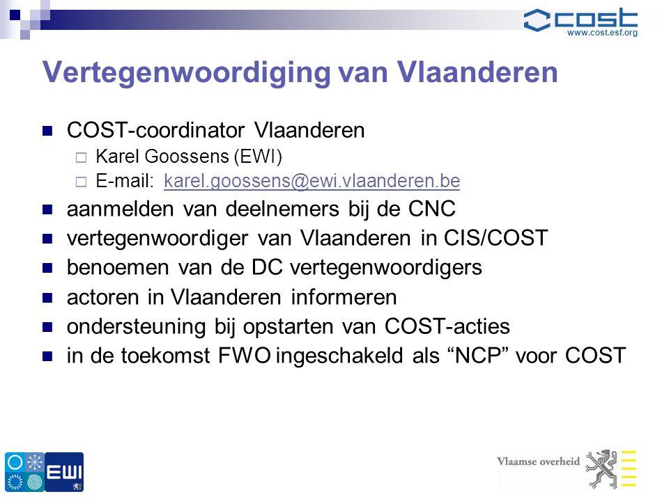 www.cost.esf.org Vertegenwoordiging van Vlaanderen  COST-coordinator Vlaanderen  Karel Goossens (EWI)  E-mail: karel.goossens@ewi.vlaanderen.bekare