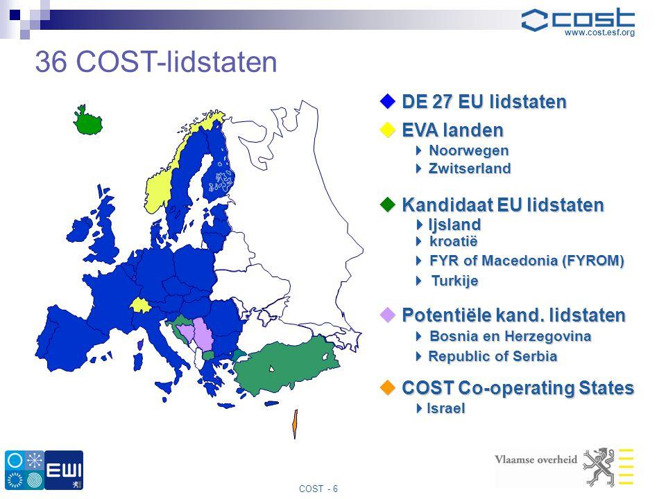 www.cost.esf.org COST - 6  DE 27 EU lidstaten  EVA landen  Noorwegen  Zwitserland  Kandidaat EU lidstaten  Kandidaat EU lidstaten  Ijsland  kr