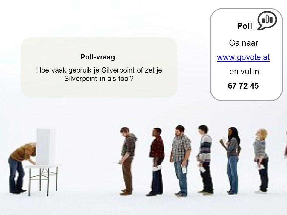 Poll-vraag: Hoe vaak gebruik je Silverpoint of zet je Silverpoint in als tool? Poll Ga naar www.govote.at en vul in: 67 72 45