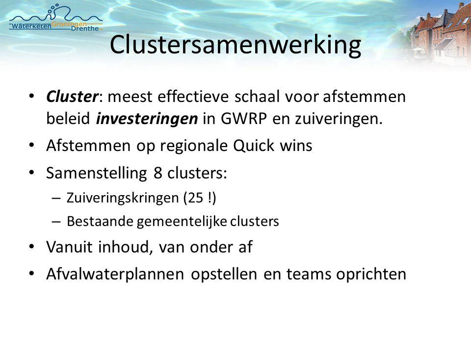 Clustersamenwerking • Cluster: meest effectieve schaal voor afstemmen beleid investeringen in GWRP en zuiveringen.