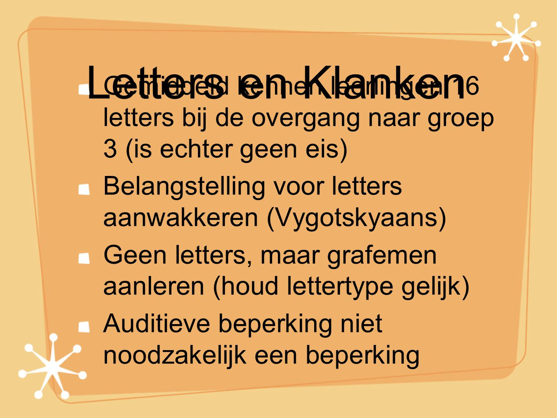 Letters en Klanken Gemiddeld kennen leerlingen 16 letters bij de overgang naar groep 3 (is echter geen eis) Belangstelling voor letters aanwakkeren (V