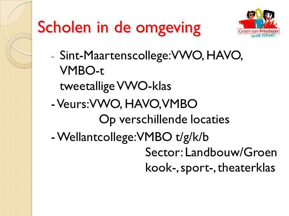 - Sint-Maartenscollege: VWO, HAVO, VMBO-t tweetallige VWO-klas - Veurs: VWO, HAVO, VMBO Op verschillende locaties - Wellantcollege: VMBO t/g/k/b Secto