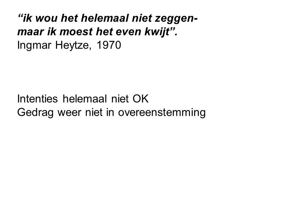 """""""ik wou het helemaal niet zeggen- maar ik moest het even kwijt"""". Ingmar Heytze, 1970 Intenties helemaal niet OK Gedrag weer niet in overeenstemming"""
