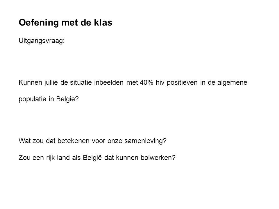 Oefening met de klas Uitgangsvraag: Kunnen jullie de situatie inbeelden met 40% hiv-positieven in de algemene populatie in België? Wat zou dat beteken